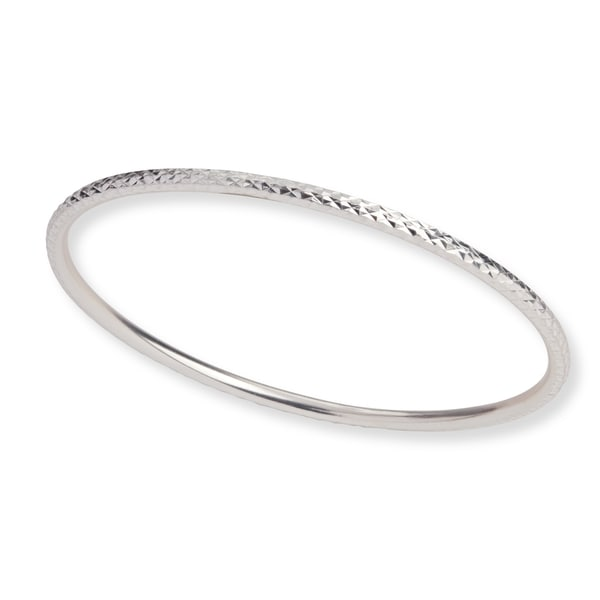 Mondevio Sterling Silver Diamond Cut Bangle Bracelet