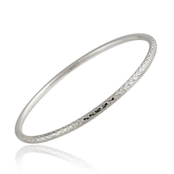 Mondevio Sterling Silver Diamond-cut Bangle Bracelet