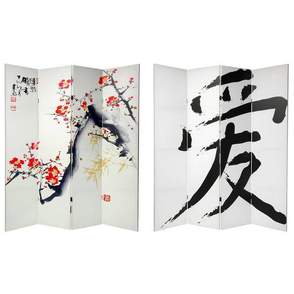 Handmade Wood and Canvas 6-foot Double-sided Cherry Blossom Room Divider (China)