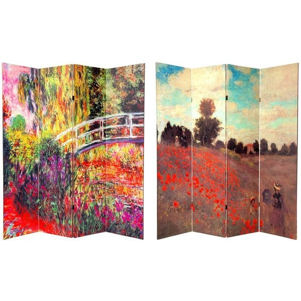 Wood and Canvas 6-foot Double-sided Monet Room Divider (China)