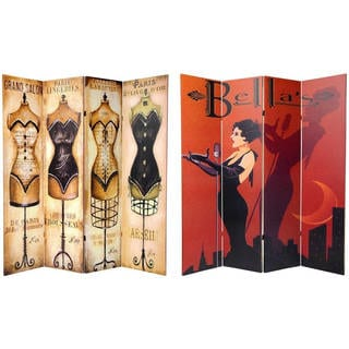 Handmade Wood and Canvas 6-foot Double-sided Cabaret Room Divider (China)