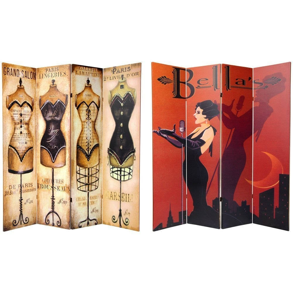 Handmade Wood and Canvas 6-foot Double-sided Cabaret Room...