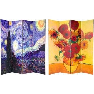 Handmade 6' Canvas Wood and Van Gogh Room Divider