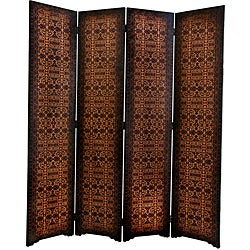 Handmade Wood and Faux Leather 6-foot European Room Divider (China)