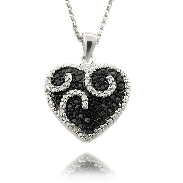 Finesque Sterling Silver 1/4ct TDW Black/ White Diamond Heart Necklace