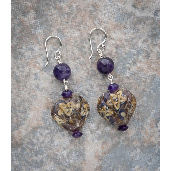 Fashion Forward Porcelain Shell Amethyst Earrings