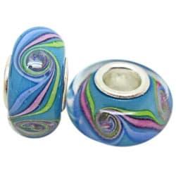 Murano Inspired Glass Blue/Pink/Green/White Charm Beads (Set of 2)