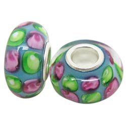 Murano Inspired Glass Sky Blue, Pink and Green Charm Beads (Set of 2)