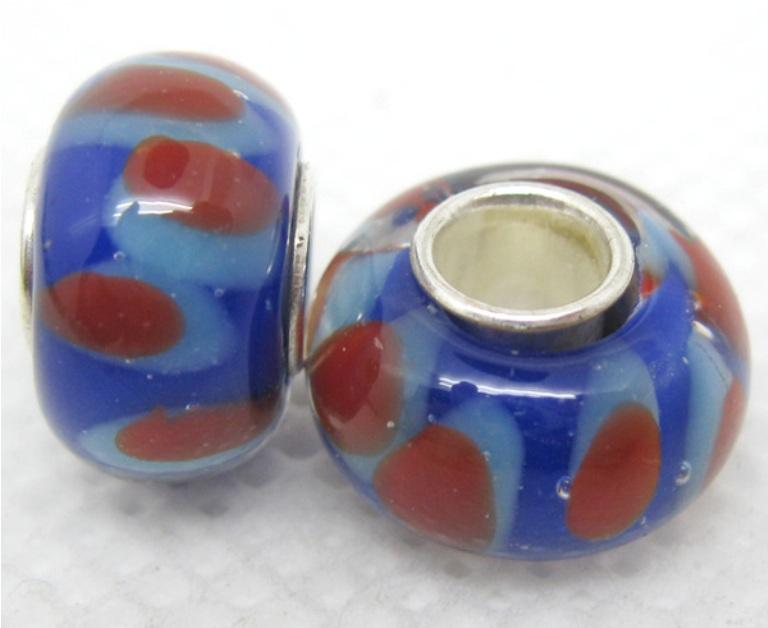 Murano Inspired Glass Cobalt Blue/ Red/ White Charm Beads (Set of 2)