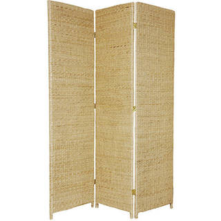 Handmade 6' Woven Wood and Rush Grass Room Divider