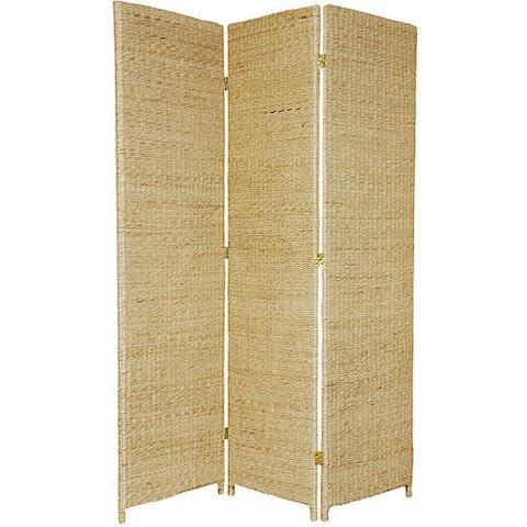 Handmade Woven Wood/ Rush Grass 6-foot Room Divider (China)