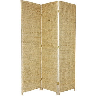 Handmade Woven Wood/ Rush Grass 6-foot Room Divider (China)
