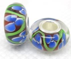Murano Inspired Glass Plum/Blue/White Flower Charm Beads (Set of 2)