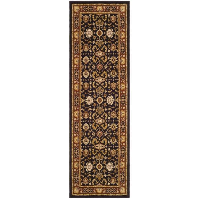 Safavieh Handmade Majesty Charcoal/ Rust N.Z. Wool Runner (2'3 x 7'6)