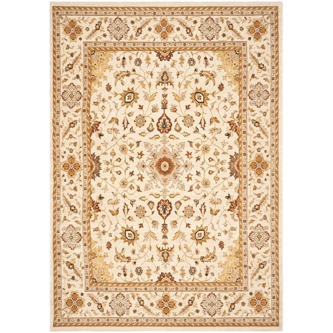 Safavieh Handmade Majesty Ivory/ Ivory New Zealand Oriental Wool Rug - 4' x 5'6'