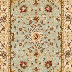 Safavieh Handmade Majesty Light Blue/ Ivory N. Z. Wool Runner (2'3 x 7'6)