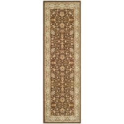 Safavieh Handmade Majesty Brown/ Light Blue N. Z. Wool Runner (2'3 x 7'6)