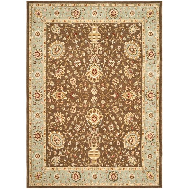 Safavieh Handmade Majesty Brown/ Light Blue N.Z. Wool Rug - 4' x 5'6'