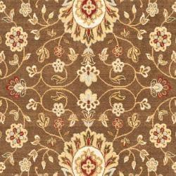 Safavieh Handmade Majesty Brown/ Light Blue N.Z. Wool Rug (4' x 5'6) - Thumbnail 1