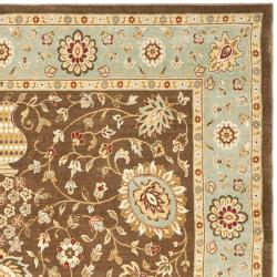 Safavieh Handmade Majesty Brown/ Light Blue N.Z. Wool Rug (4' x 5'6) - Thumbnail 2