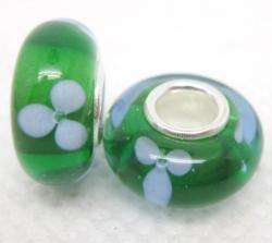 Murano Inspired Glass Green/ White Flowers Charm Beads (Set of 2)
