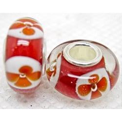 Murano Inspired Glass Plum/ White/ Red Flower Charm Beads (Set of 2)