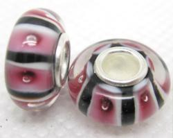 Murano Inspired Glass Black, Pink and White Charm Beads (Set of 2)