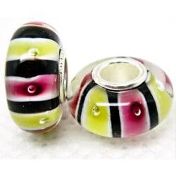 Murano Inspired Glass Black/Pink/Yellow Stripe Charm Beads (Set of 2)