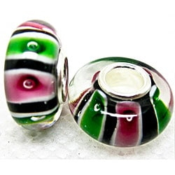 Murano Inspired Glass Green and Pink Stripes Charm Beads (Set of 2)