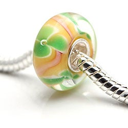 Murano Inspired Glass Orange/Pink/Green Flower Charm Beads (Set of 2)