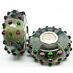 Handmade Murano Inspired Glass Pink and Green Dots Charm Beads (Set of 2) (United States)|https://ak1.ostkcdn.com/images/products/5666801/Murano-Inspired-Glass-Pink-and-Green-Dots-Charm-Beads-Set-of-2-P13414276.jpg?impolicy=medium