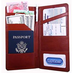 International Travel Cognac Leather Wallet - Thumbnail 1