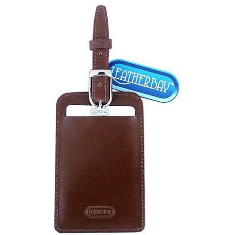 Leatherbay Antique Tan Leather Luggage Tag