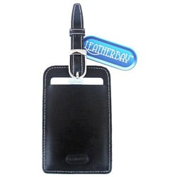 Leatherbay Black Leather Luggage Tag