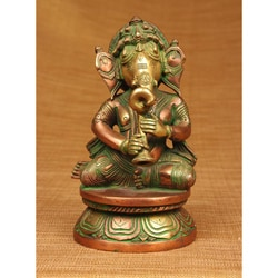 Brass Ganesha Playing Horn Sculpture (India)