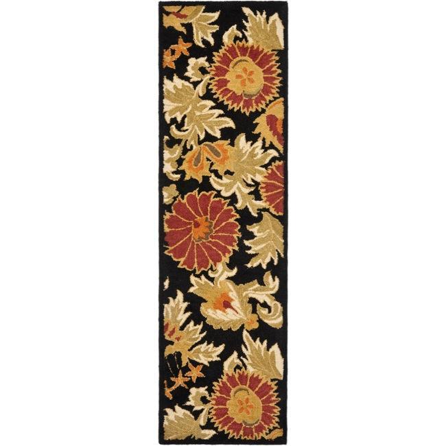 "Safavieh Handmade Blossom Flowers Black Wool Rug - 2'3"" x 8'"