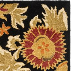 Safavieh Handmade Blossom Flowers Black Wool Rug (2'3 x 8') - Thumbnail 1