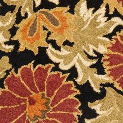 Safavieh Handmade Blossom Flowers Black Wool Rug (2'3 x 8') - Thumbnail 2