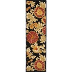 "Safavieh Handmade Blossom Flowers Black Wool Rug - 2'3"" x 8' - Thumbnail 0"