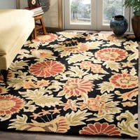 Safavieh Handmade Blossom Flowers Black Wool Rug - 5' x 8'