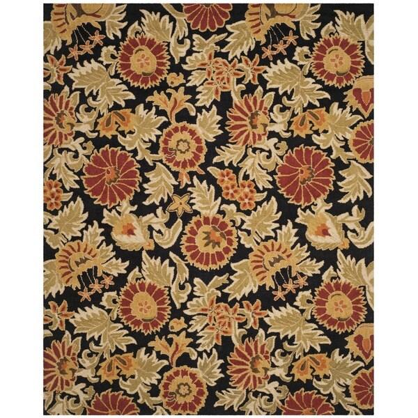 Safavieh Handmade Blossom Flowers Black Wool Rug - 8' x 10'