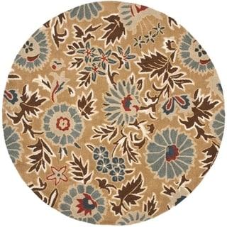 Safavieh Handmade Blossom Deliah Modern Floral Wool Rug (6 x 6 Round - Beige/Multi)