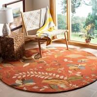 Safavieh Handmade Blossom Botanical Rust Wool Rug - 6' x 6' Round