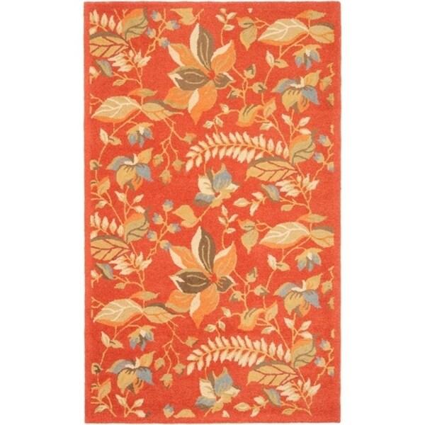 Safavieh Handmade Blossom Botanical Rust Wool Rug - 8' x 10'
