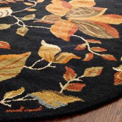 Safavieh Handmade Blossom Botanical Black Wool Rug (6' Round) - Thumbnail 1