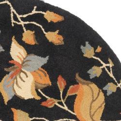 Safavieh Handmade Blossom Botanical Black Wool Rug (6' Round) - Thumbnail 2
