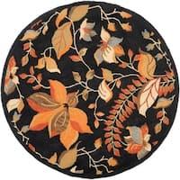 Safavieh Handmade Blossom Botanical Black Wool Rug - 6' x 6' Round