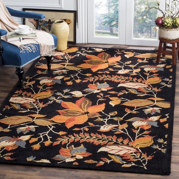Safavieh Handmade Blossom Botanical Black Wool Rug - 8' x 10'