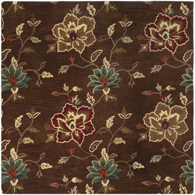 Safavieh Handmade Jardine Gardens Brown Wool Rug (6' Square)