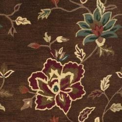 Safavieh Handmade Jardine Gardens Brown Wool Rug (6' Square) - Thumbnail 2